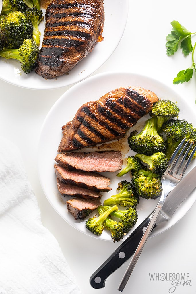 top sirloin steak on a plate with broccoli