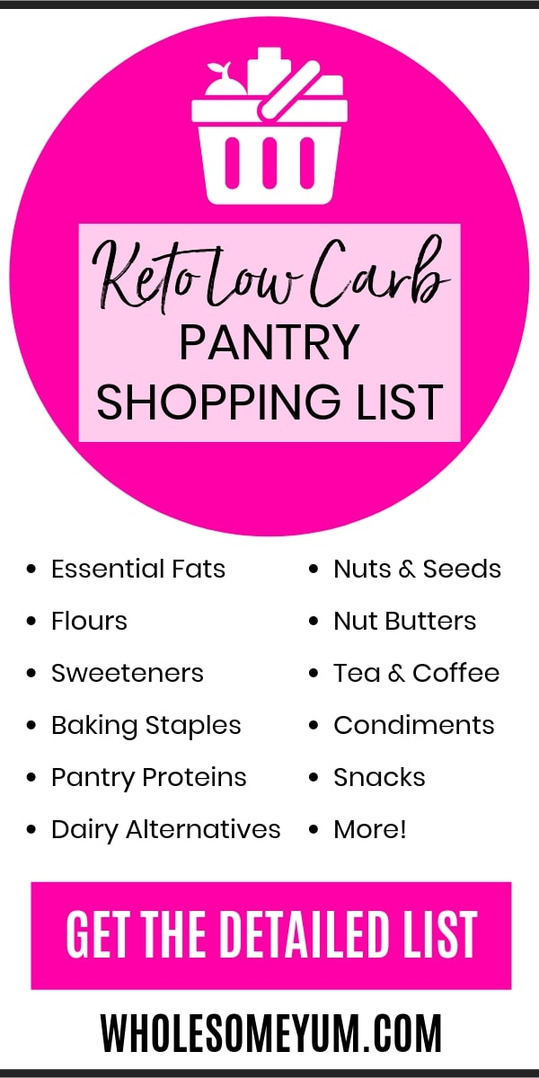 Keto Low Carb Shopping List For Your Pantry - A complete keto low carb shopping list to keep your low carb pantry stocked! Plus, find all the other keto foods to buy. Grab this keto shopping list and you'll have everything you need.