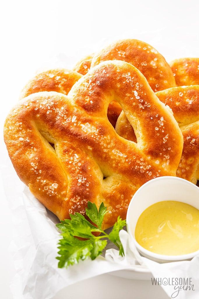 Keto soft pretzels in basket