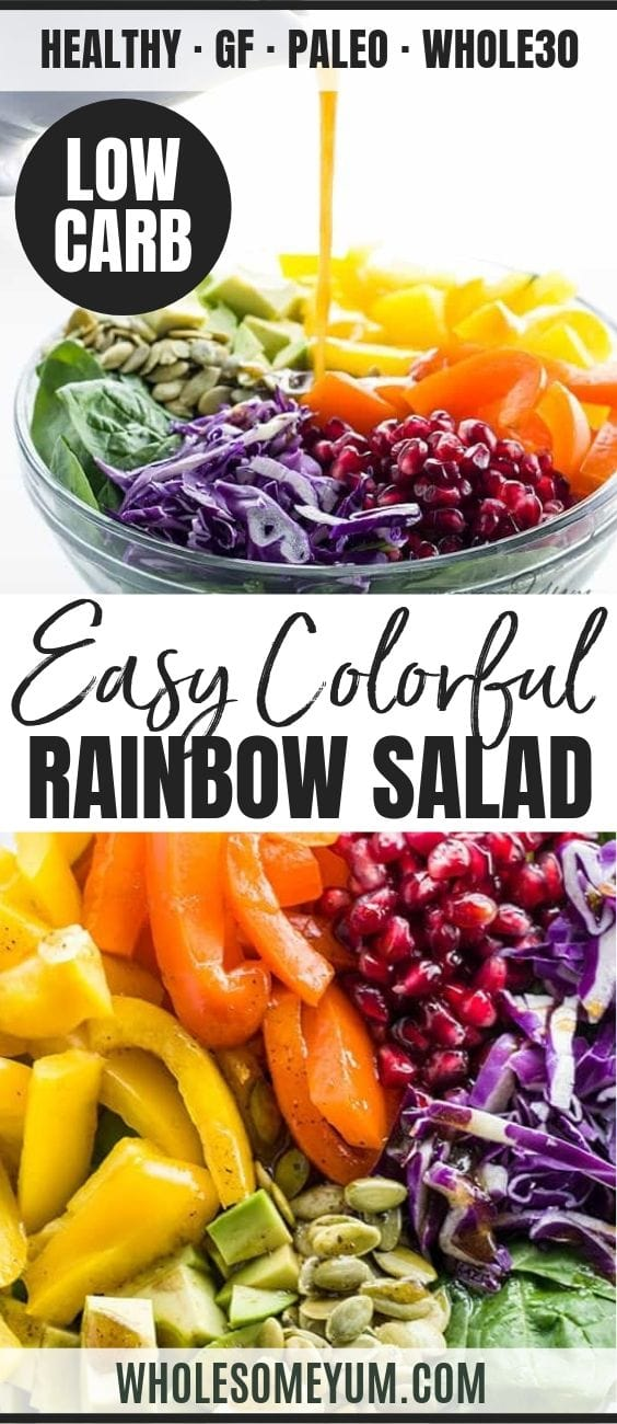 Colorful Rainbow Salad with Pomegranate Vinaigrette - Pinterest image