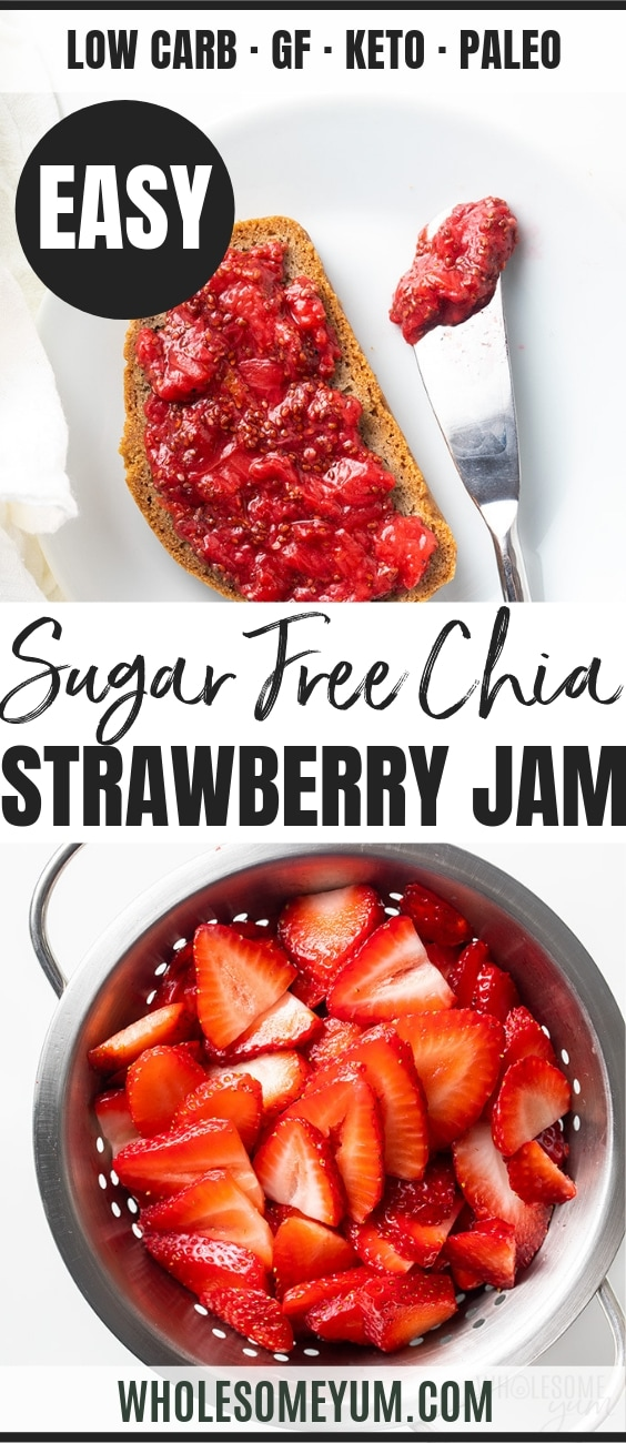 Sugar Free Strawberry Chia Jam Recipe - Pinterest image