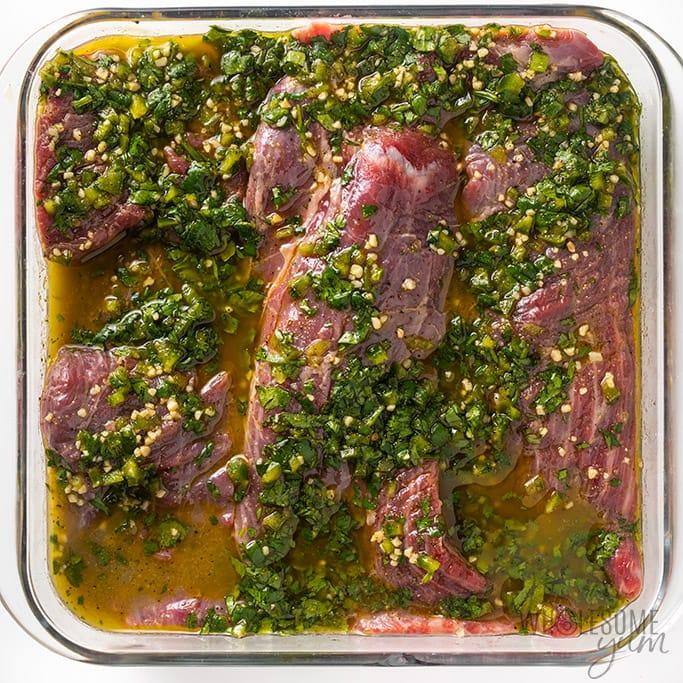 Beef in carne asada marinade