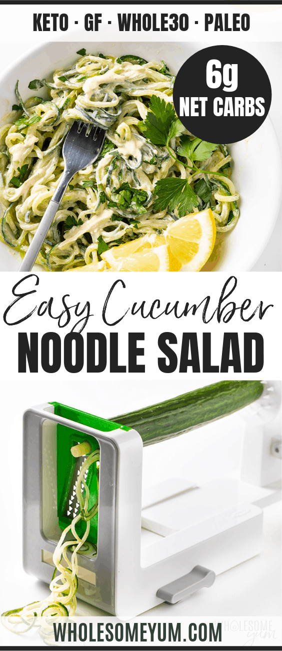 Cucumber Noodles Salad Recipe With Tahini Sauce - Pinterest image