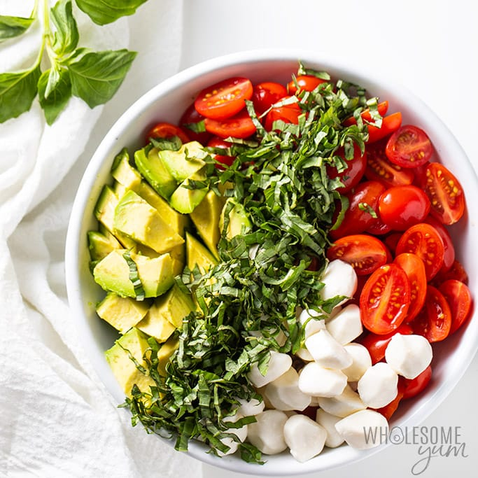 ingredients for caprese salad with cherry tomatoes