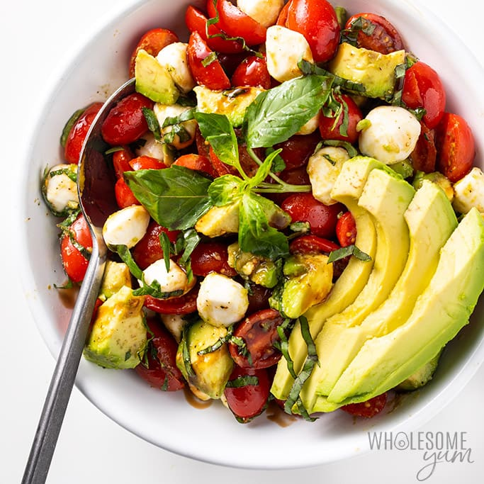 chopped caprese salad in a bowl