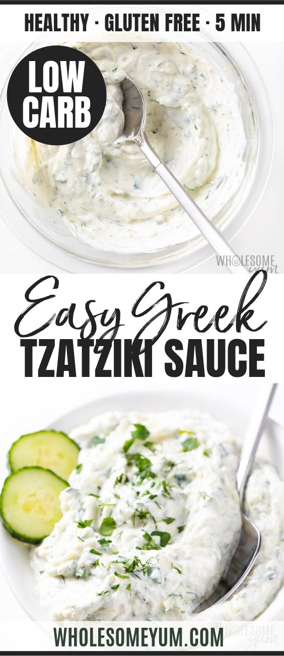 Easy Greek Tzatziki Sauce - Pinterest image