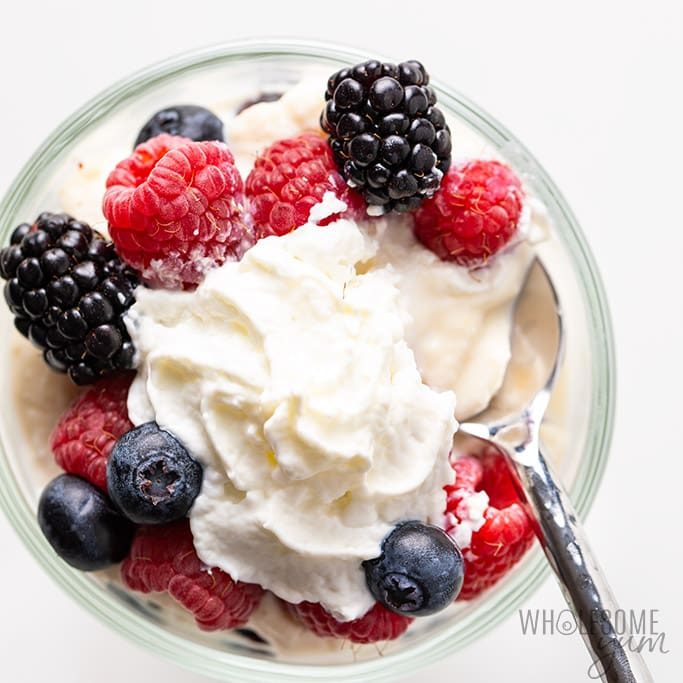 keto berry dessert with whipped cream