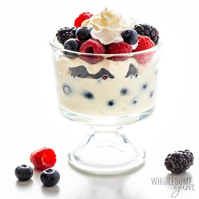 low carb ricotta dessert in a trifle class