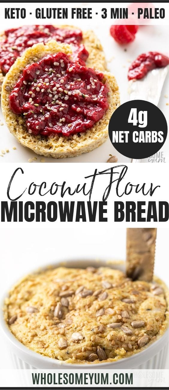 Keto Microwave Bread Recipe - Pinterest image