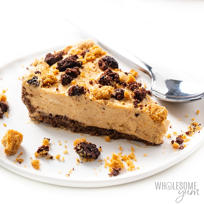 slice of no bake peanut butter pie on a plate Detail: no-bake-frozen-keto-low-carb-peanut-butter-pie-recipe-25