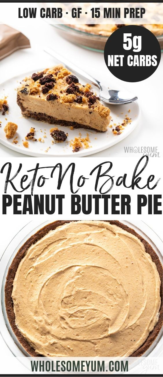 No Bake Frozen Keto Low Carb Peanut Butter Pie - Pinterest image