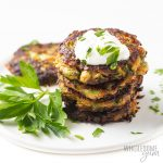 stack of zucchini fritters keto