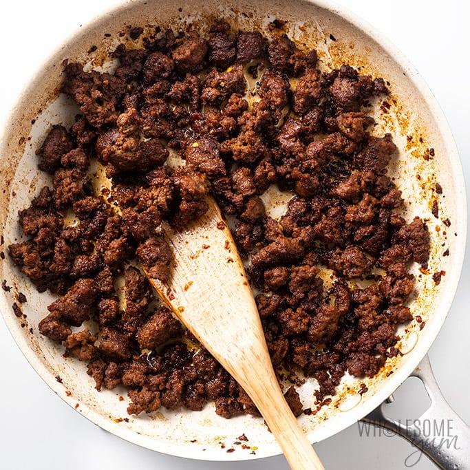 korean ground beef recipe stir frying in pan