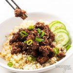 korean beef bowl with chopsticks
