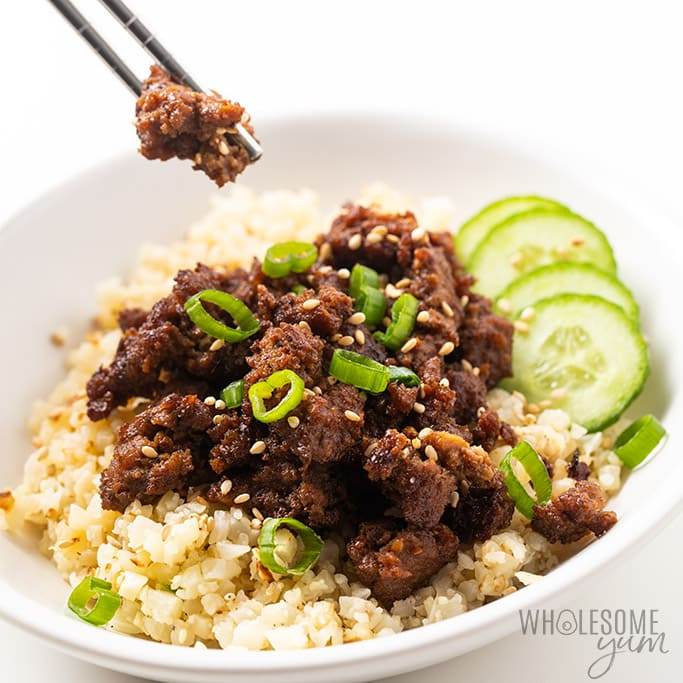 korean beef bowl with chopsticks
