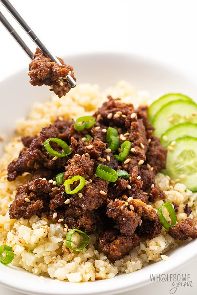 keto korean beef with chopsticks
