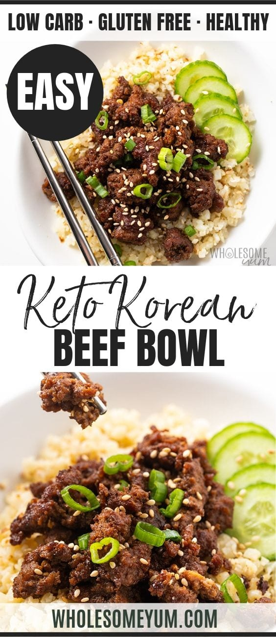 Easy Keto Korean Ground Beef Bowl - Pinterest image