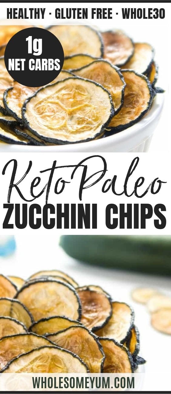Healthy Oven Baked Zucchini Chips - Pinterest image