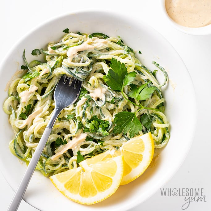 tahini sauce recipe over cucumber noodles