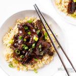 bowl of crock pot mongolian beef
