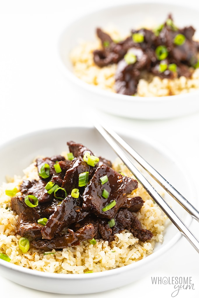 two bowls of healthy Mongolian beef