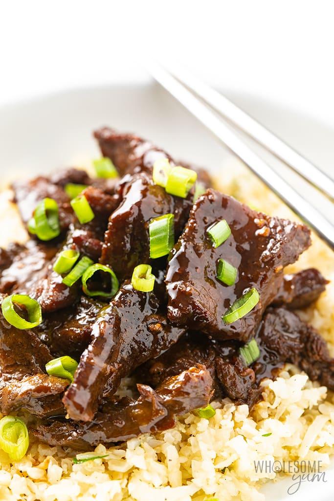 healthy mongolian beef closeup
