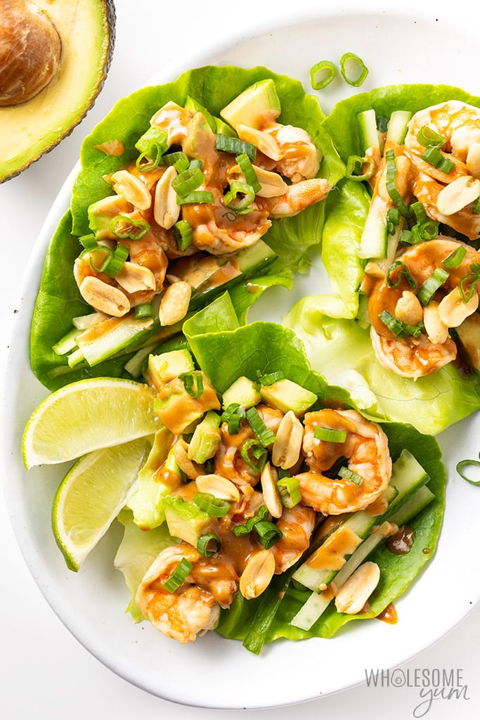 Spicy Keto Thai Shrimp Lettuce Wraps Recipe Wholesome Yum