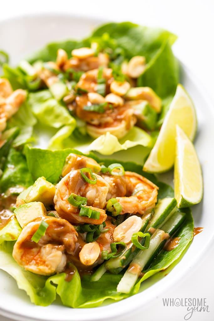 keto shrimp lettuce wraps with peanut sauce