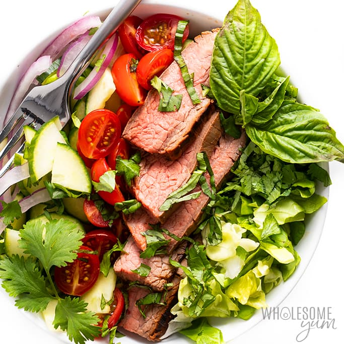 Thai beef salad recipe - in a white bowl