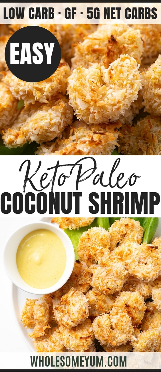 Baked Keto Coconut Shrimp Recipe - Pinterest Image