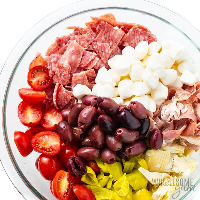 keto antipasto salad ingredients in bowl