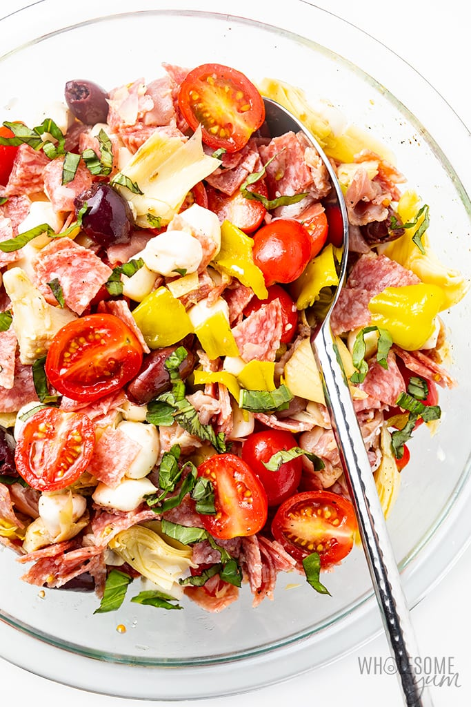 keto antipasto salad in bowl