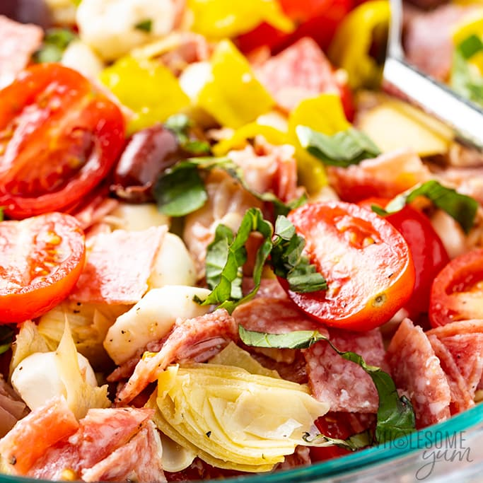 Closeup of Italian antipasto salad