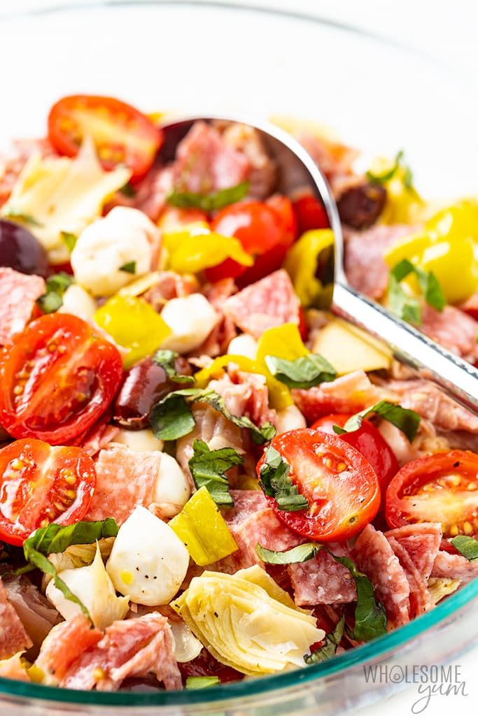 antipasto salad with spoon