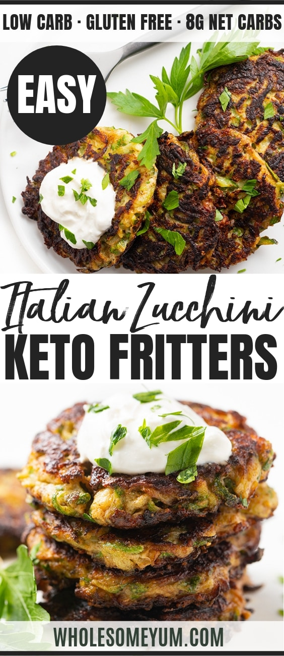 Easy Italian Keto Low Carb Zucchini Fritters Recipe - Pinterest Image