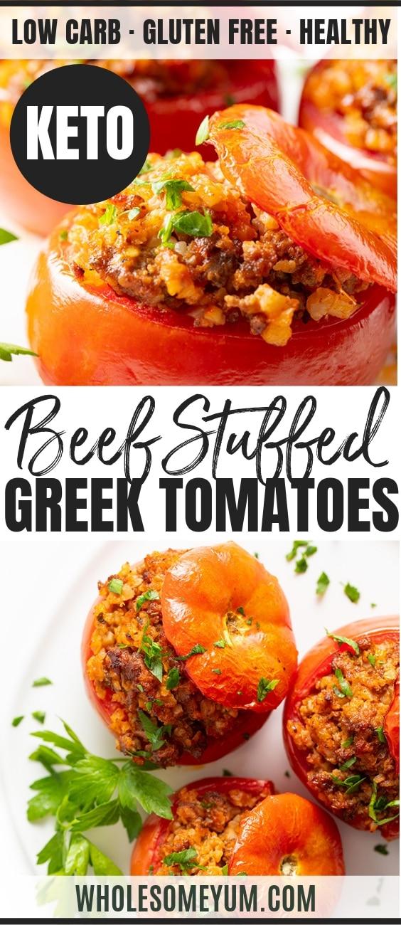 Gemista: Baked Greek Stuffed Tomatoes Recipe - Pinterest Image