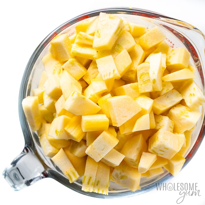 Diced yellow squash for keto apple pie