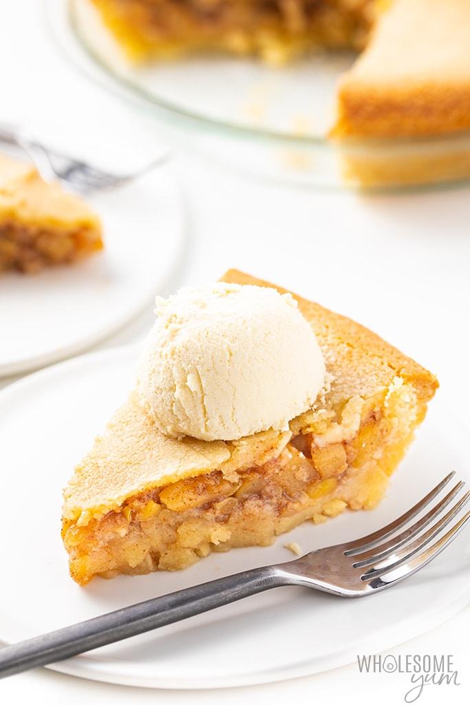 slice of keto apple pie with ice cream
