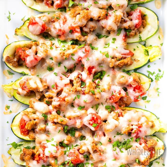 tray of keto zucchini boats
