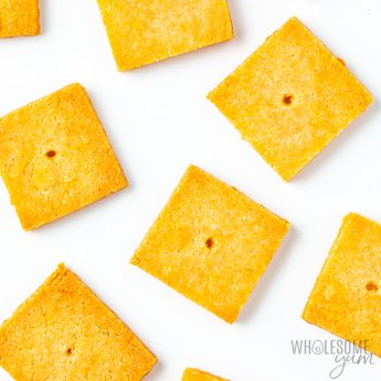 Low carb keto cheese crackers close-up