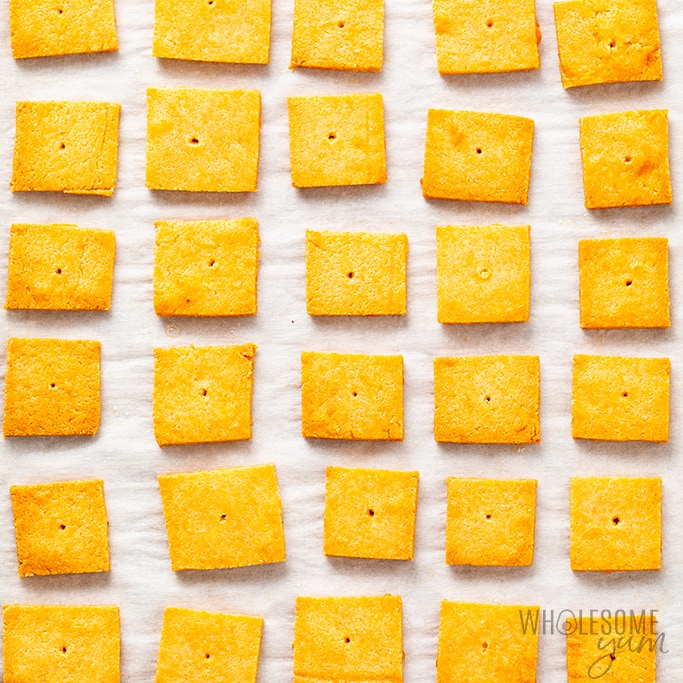 almond flour cheese crackers out of the oven