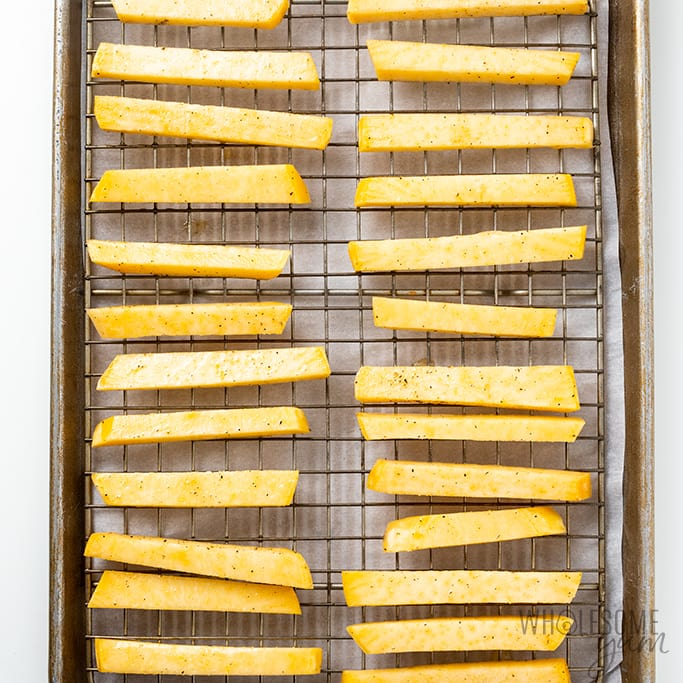keto French fries on cooling rack to bake