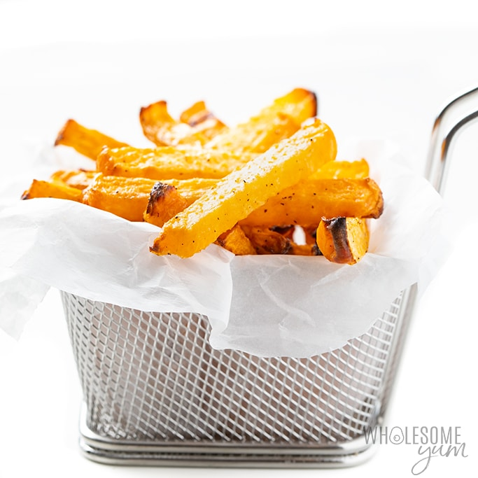 low carb French fries in a basket