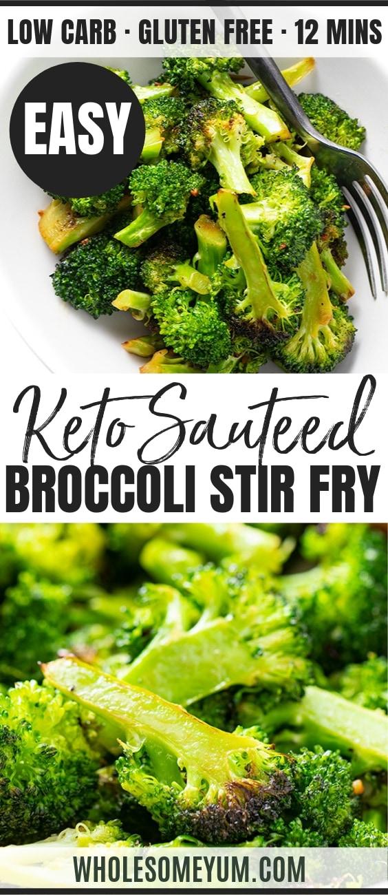 sauteed broccoli recipe - pinterest image
