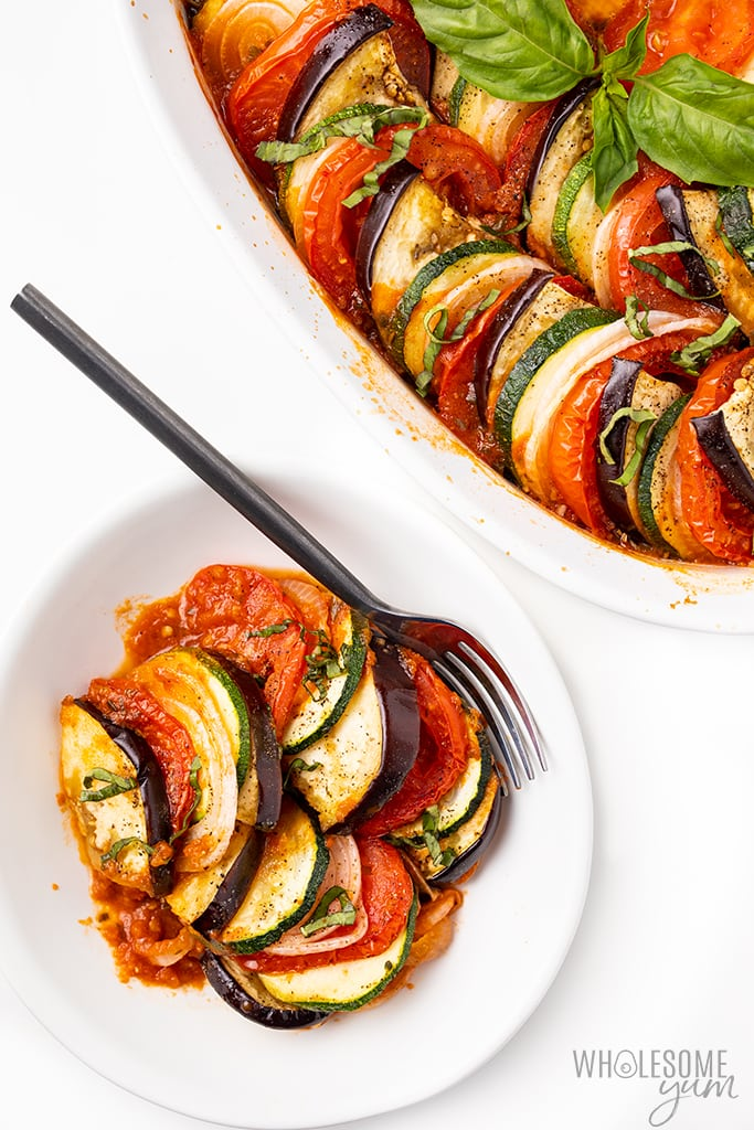 plate of baked ratatouille