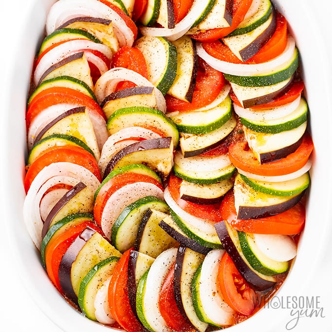 ratatouille vegetables in a pattern