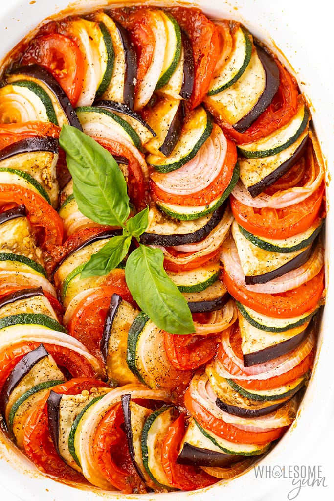 best ratatouille recipe with sprig of basil