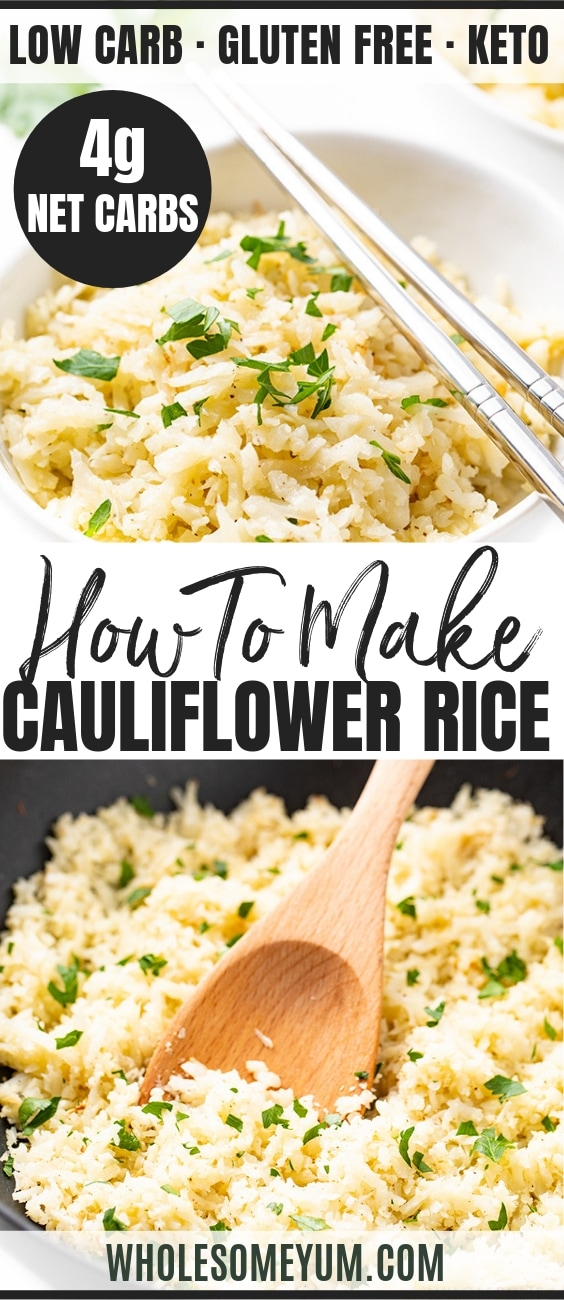 How To Make Cauliflower Rice - Pinterest Image