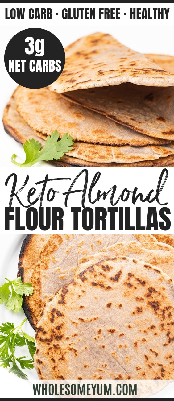 Keto Almond Flour Tortillas Recipe - Pinterest Image