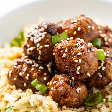 Asian turkey meatballs over cauliflower rice